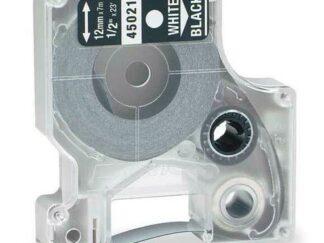 Dymo 45021 D1 standardtape hvid på sort - 12mm x 7m - Kompatibel