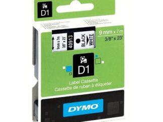 Dymo 40913 D1 standardtape sort på hvid - 9mm x 7m - original