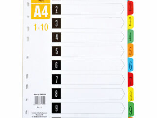 Faneblade A4 1-10 i plastik med laminerede kanter